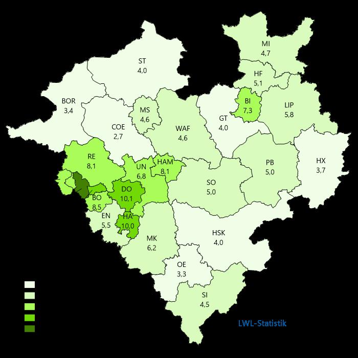 Karte zur Arbeitslosenquote in Westfalen-Lippe