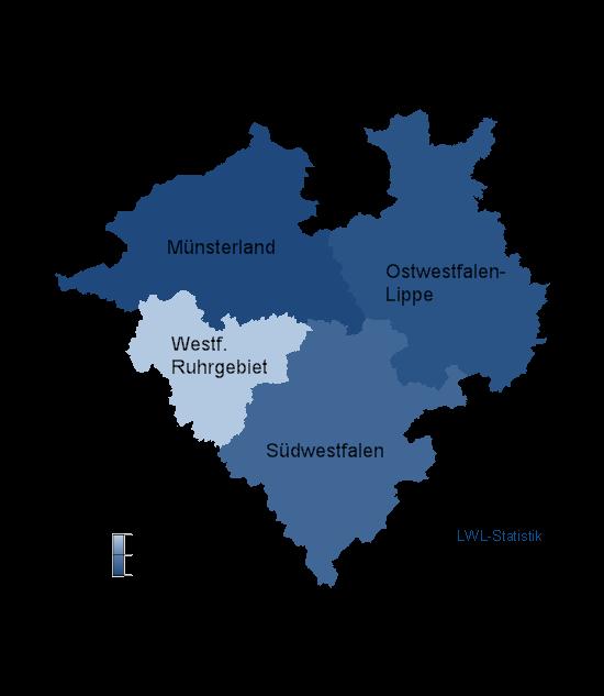 Karte der Regionen Westfalen-Lippes