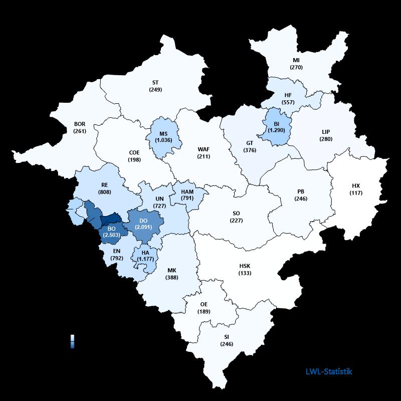 Karte zur Bevölkerungsdichte in Westfalen-Lippe