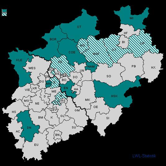 NRW-Karte mit Flächenfärbung