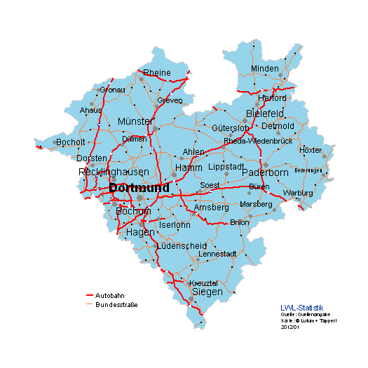Karte von Westfalen-Lippe