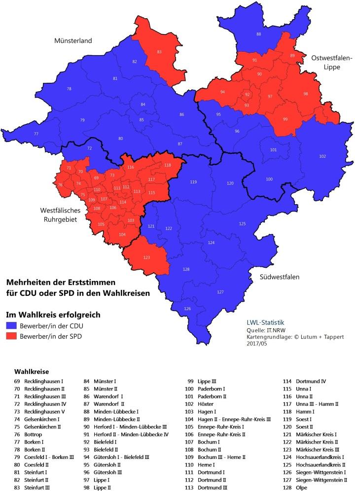 Karte von Westfalen-Lippe mit dem Erststimmenergebnis