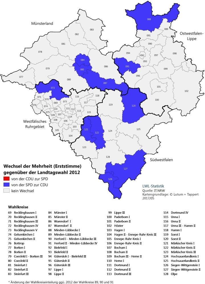 Karte von Westfalen-Lippe mit dem Erststimmenergebnis - Mehrheitenwechsel
