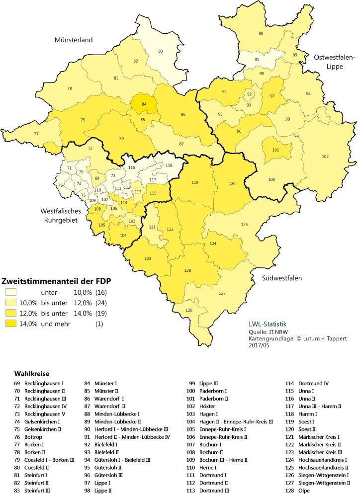 Karte von Westfalen-Lippe mit dem Zweitstimmenergebnis der FDP