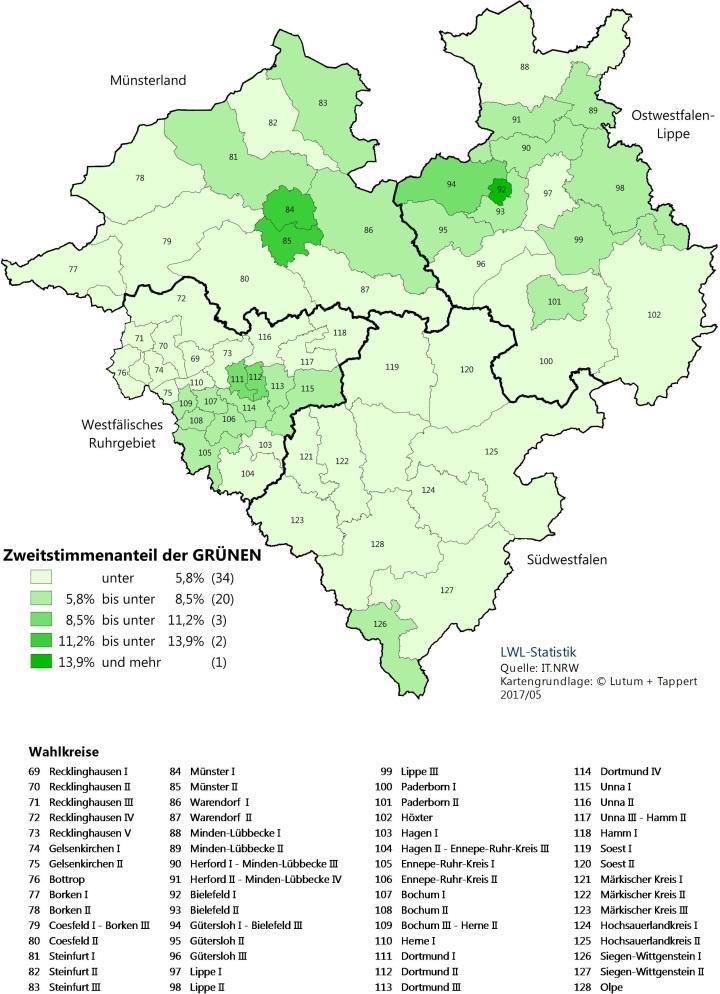 Karte von Westfalen-Lippe mit dem Zweitstimmenergebnis der GRÜNEN