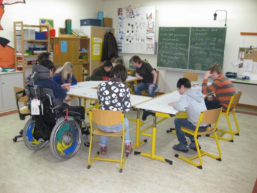 Die Mobilitätsgruppe der Abschlussstufe bei der Arbeit