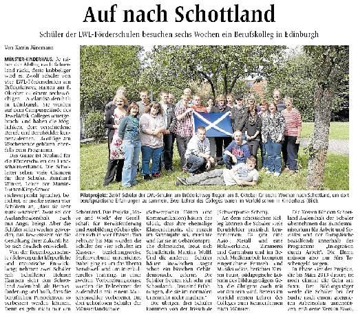 Pressebericht über Schüleraustausch Schottland
