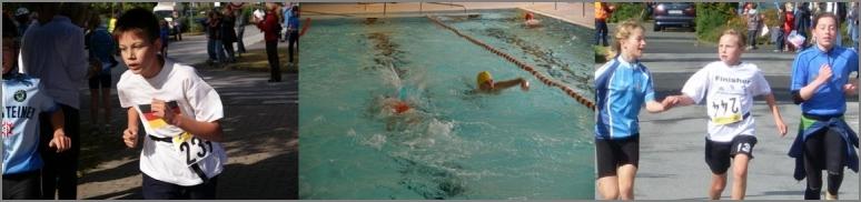 Christian (laufend), Antonia (laufend) und ein Schwimmer im Wasser