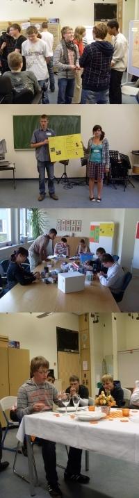Schüler an Tischen und in Räumen vertieft in Gespräche und Benimmübungen