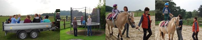 Fotos von den Teilnehmern beim Trampolin springen, Trecker fahren und Reiten