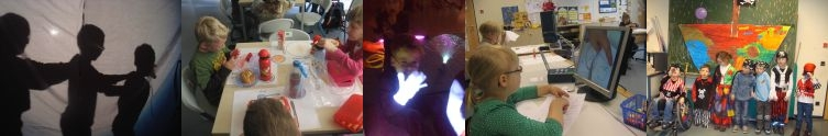5 Bilder aus der Vorschulgruppe mit Kindern - Schattentheater