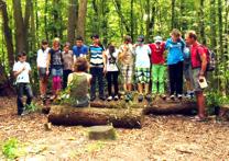Foto der Klasse 5-7 im Wald