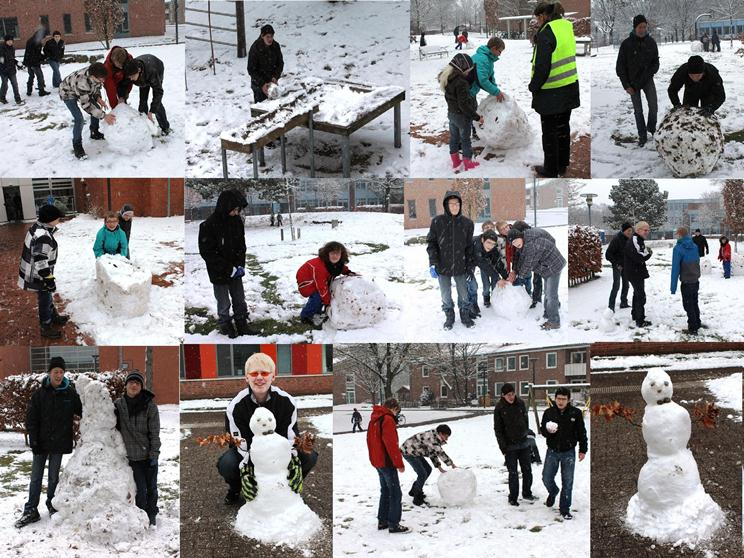 Fotos von Schülern im Schnee an der Irisschule