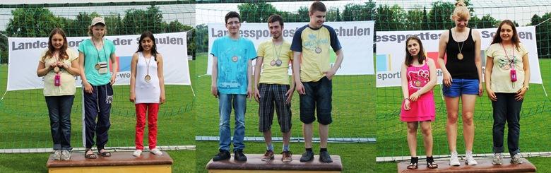 Fotos von Antonia, Marija und Turhan bei der Siegerehrung