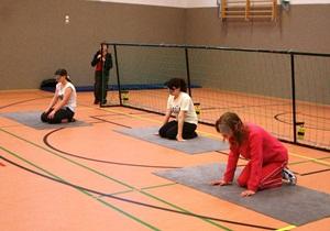 Foto von Christina, Lisa und Xenia bei einem Gruppenspiel