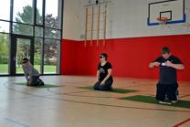 Foto von drei Torballspielern in der Sporthalle