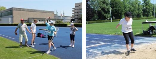Schüler beim Schlagballwurf und Standweitsprung