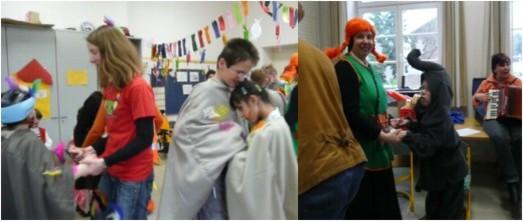Schülerinnen und Schüler beim gemeinsamen tanz
