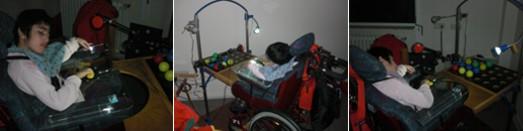 Schwerstbehinderte Schülerin schaltet Licht über einen speziellen Taster