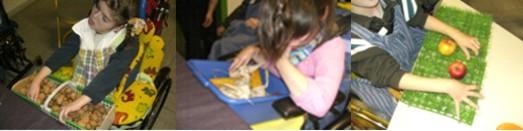 Schüler und Schülerinnen erkunden die Herbstmaterialien an verschiedenen Stationen