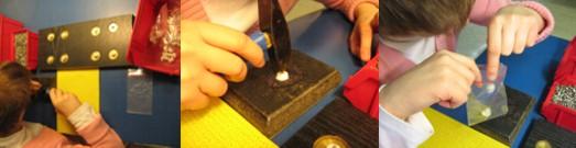 Schüler erstellt in mehrteiligen Arbeitsschritten mit Hilfe von Schablonen ein fertiges Produkt (Regalträger)
