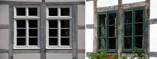 Holzsprossenfenster in Fachwerkbauten