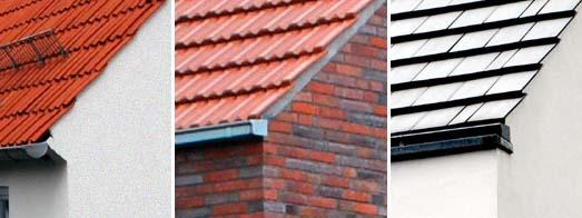 Unterschiedliche Dachdeckungen mit minimalen Dachüberständen sowie vermörtelten Doppelkremperziegel am Ortgang und verschiedenen Dachrinnen