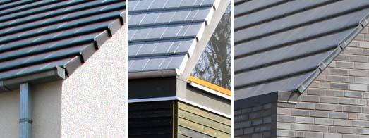 Tegula-Dachdeckung mit minimalen Dachüberständen sowie Ortgangziegeln und vorhängenden oder aufliegenden Dachrinnen
