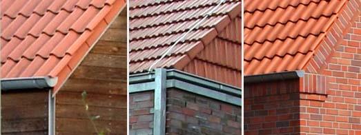 Verschiedene Formen von Ortgangziegeln und vorhängende oder aufliegende Dachrinnen