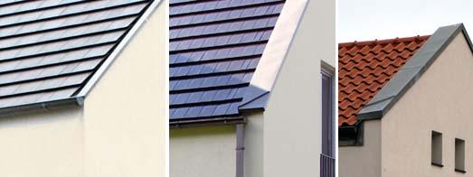 Schildgiebel als Ortgangausbildung bei Putzbauten mit Metallabdeckung und vorhängenden oder aufliegenden Dachrinnen