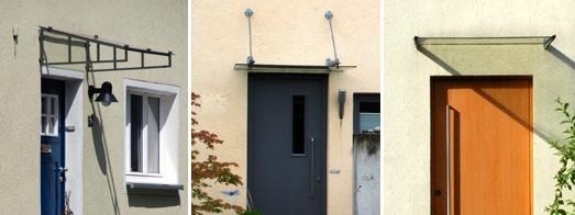 Vordächer bei Putzbauten, unterschiedliche Formen und Befestigungen von Metall/Glaselementen