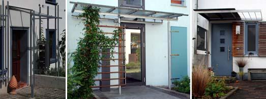 Unterschiedliche Arten von Vordächern als Getaltungselemente zur Anbringung von Briefkästen, Hausnummern oder Verdeckung von Abstellplätzen