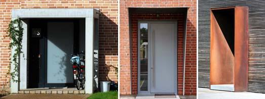 Verschiedene offene Vorbauten aus Beton und Stahl