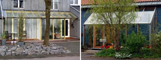 Vorbauten aus Glas offen und geschlossen