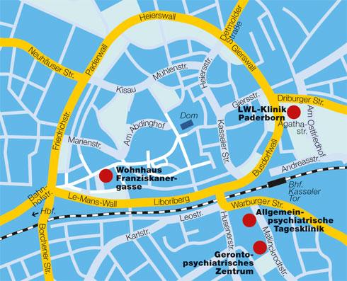 Standorte der LWL-Klinik Paderborn