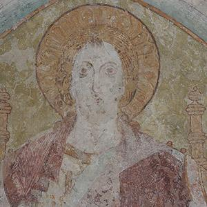 Balve, wall painting, Enthroned Christ, section. Photo: LWL/Dülberg