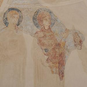 Lügde, wall painting, Mother of God and St. John the Evangelist, detail. Photo: LWL/Dülberg
