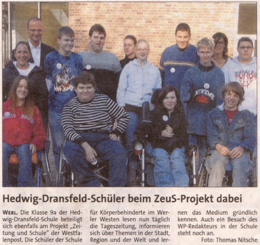 Zeitungsartikel Zeus-Projekt