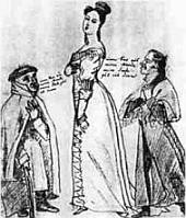 Droste mit August von Arnswaldt und Heinrich Straube, Karikatur ,1820.
