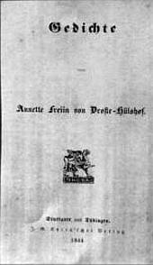 Gedichtausgabe 1844, Titelblatt.