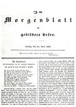 Titelseite Morgenblatt für gebildete Leser.