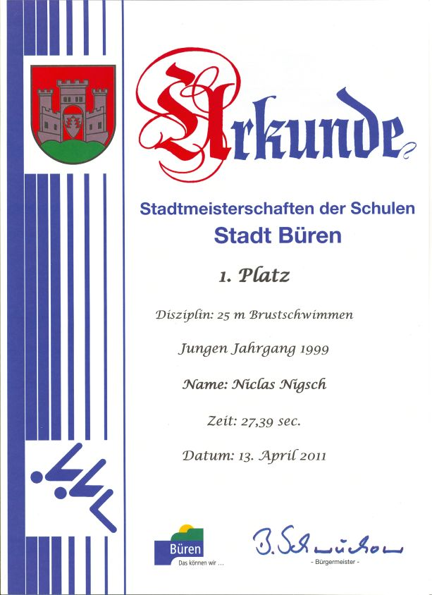 25m Brustschwimmen Jungen Jahrgang 1999 – Niclas - 1. Platz