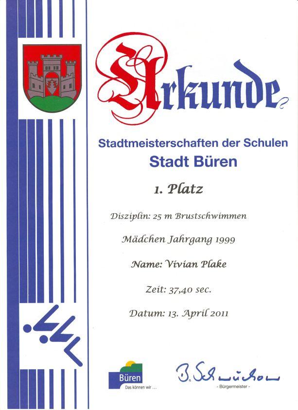 25m Brustschwimmen Mädchen Jahrgang 1999 – Vivian - 1. Platz
