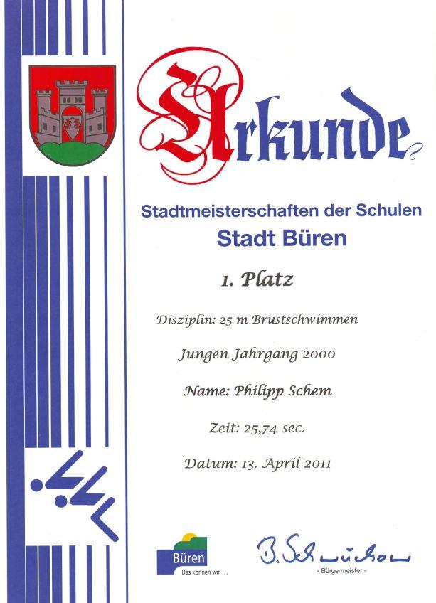 25m Brustschwimmen Jungen Jahrgang 2000 – Philipp - 1. Platz