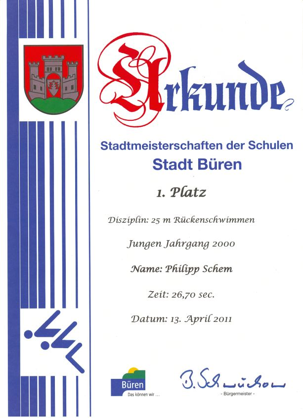 25m Rückenschwimmen Jungen Jahrgang 2000 – Philipp - 1. Platz