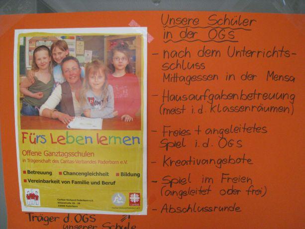 Auch die OGS stellte ihre Arbeit im Verbund mit dem Caritasverband Paderborn umfassend dar.