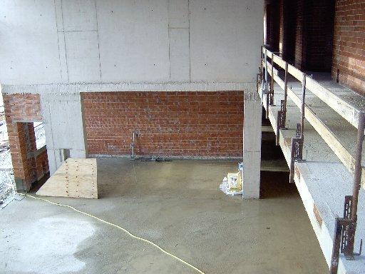 Ein Blick von oben auf die spätere Bühne im Forum
