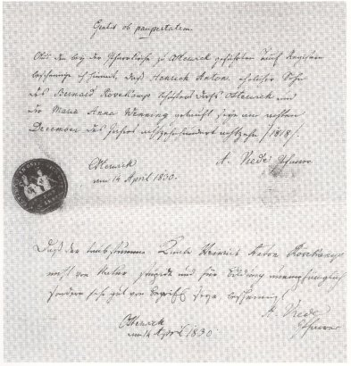 Die Gründungsurkunde von 1830
