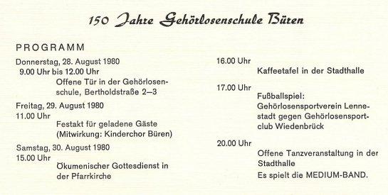 Programm zur 150-Jahr-Feier