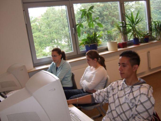 Sie arbeiten am Computer.